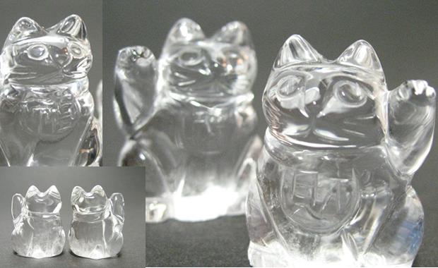 右手で福寿・左手で財運のペア水晶招き猫